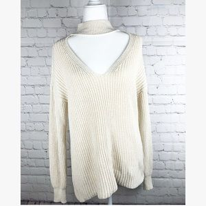 ZARA KNIT cream Vneck sweater medium